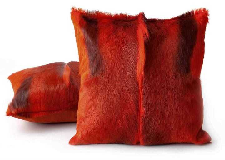 Springbok hide cushions - Red