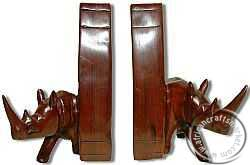 African wooden Rhino bookends