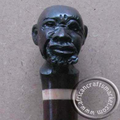 African male head Iron wood walking stick