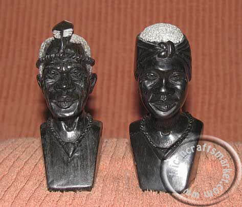 African stone bust couple