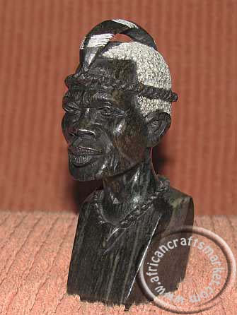 African stone carved male bust - head