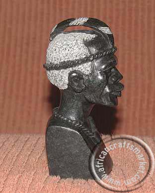 African stone tribesmen bust