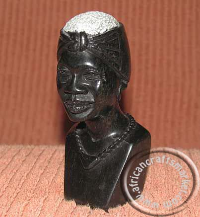 African stone female Shona bust head