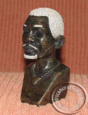 African stone Shona male bust