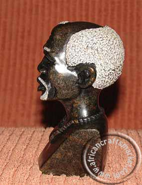 African stone tribal Shona bust