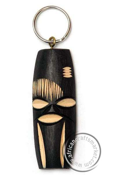 African wooden Swazi mask key ring