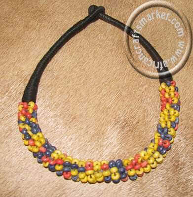 Traditional Zulu bead necklace - yellow