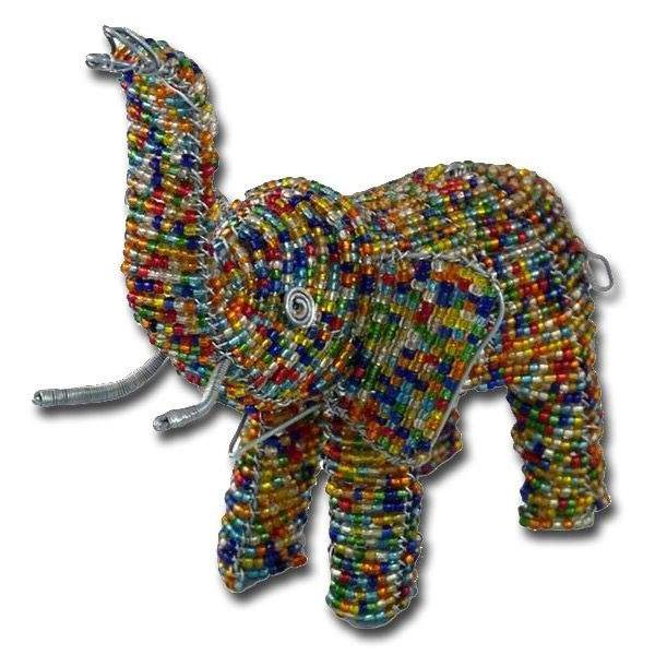 African wire beaded elephant