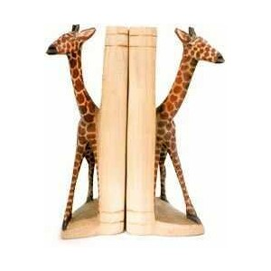 African wooden giraffe bookends
