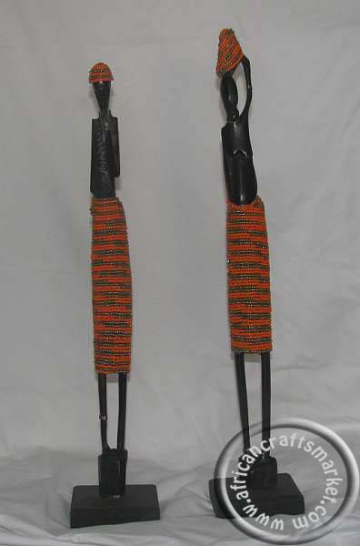 African skinny beaded ebony wood couple