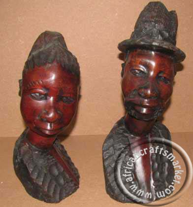 African wooden bust couple