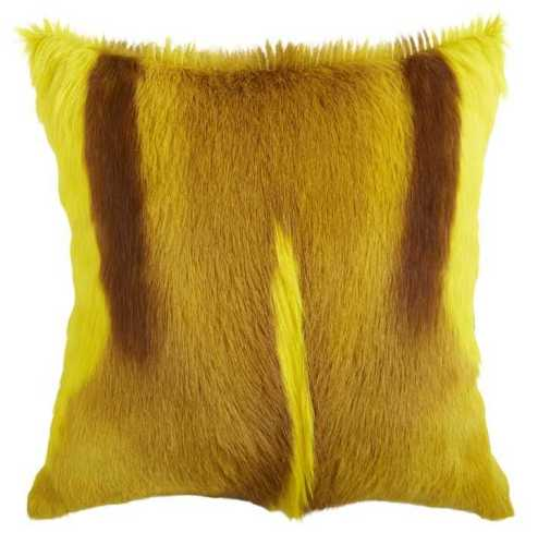 Springbok hide cushion - Yellow