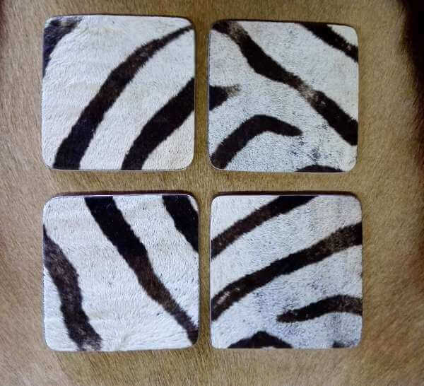 Square Zebra hide coasters