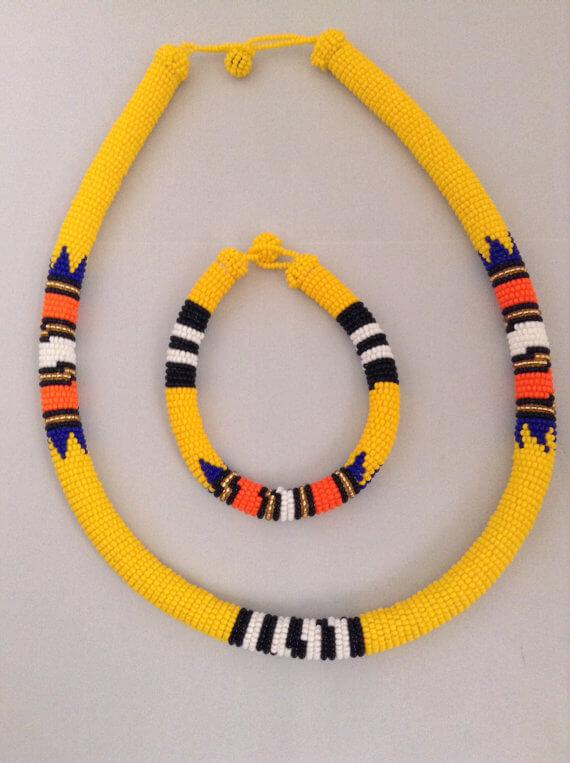 Zulu Beaded Necklace and Bracelet Set