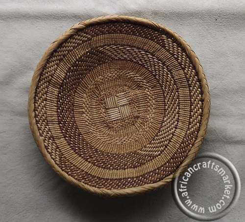 African handcrafted woven basket plates