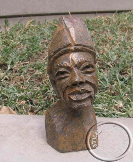 African hand carved stone Zulu bust