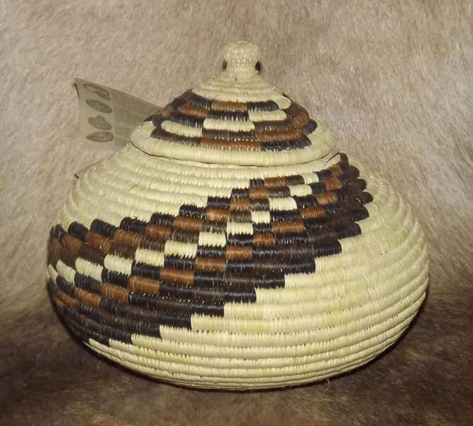 African hand woven Zulu basket with lid