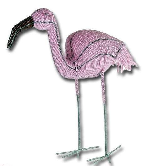 African wire beaded Flamingo