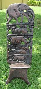 African Wood Carved Chair