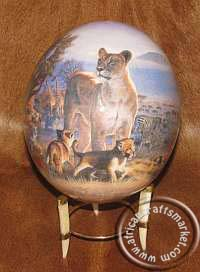 Lions on ostrich egg