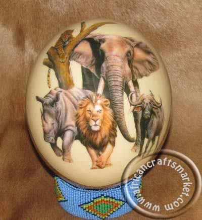 African ostrich egg big 5 and African map