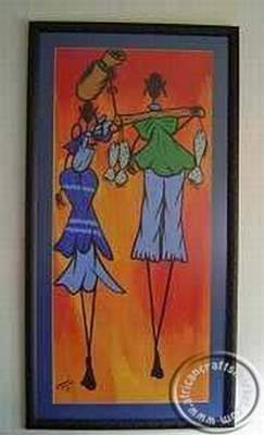 African hand painted Zulu paintings
